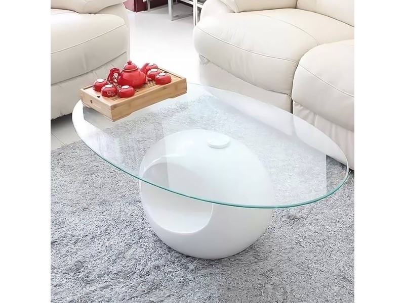 Ovus - table basse blanche en verre ovus