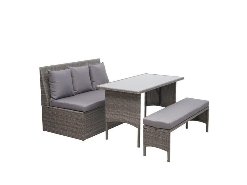 Garniture en polyrotin hwc-g16, jardin, gastronomie, canapé 2 places, table, banc ~ gris, coussin gris foncé