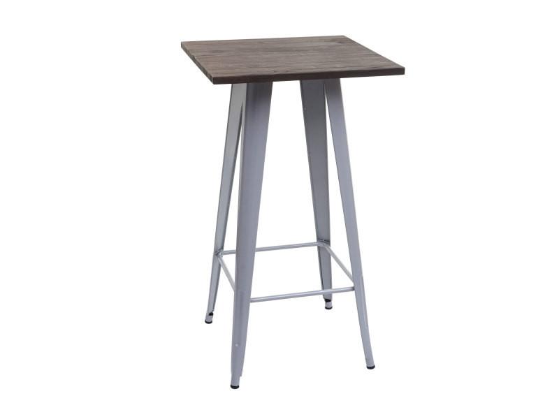 Table haute hwc-a73 avec plateau en bois, table de bar, design industriel en métal 107x60x60cm ~ gris