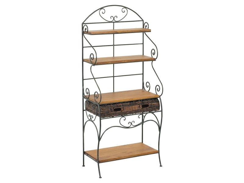 etagre boulangre en mtal et pin vente de aubry gaspard conforama with etagere a vin conforama. Black Bedroom Furniture Sets. Home Design Ideas