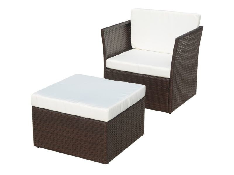 Vidaxl chaise de jardin avec tabouret marron résine tressée 41980