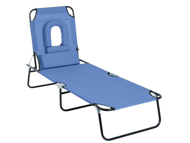 Bain de soleil pliable transat inclinable 4 positions chaise longue de lecture 3 coussins fournis bleu
