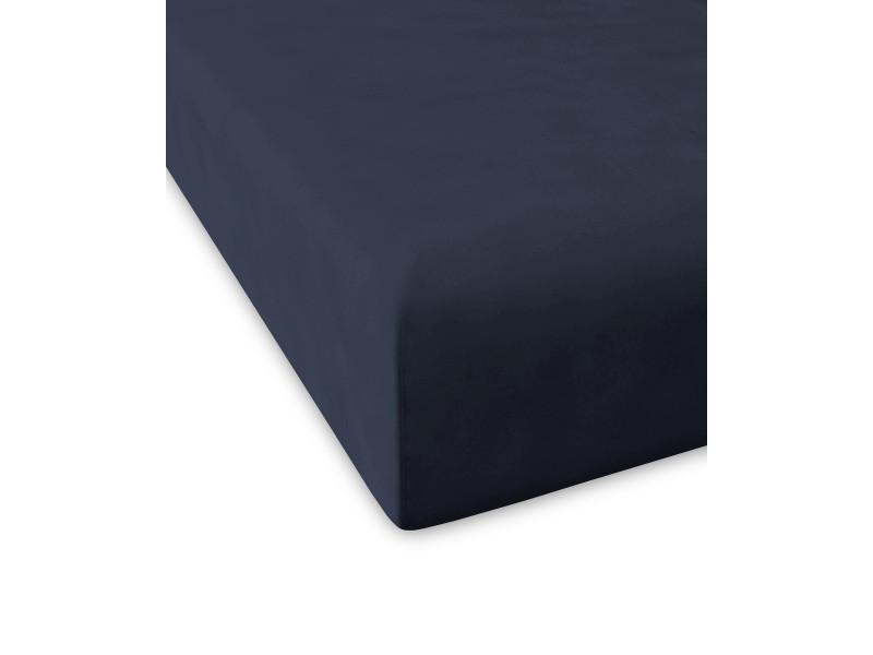 Drap housse pure |200x200+28 cm|bleu marine 58974