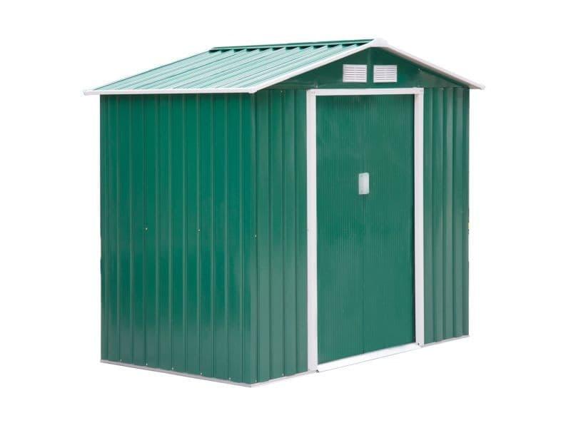 Abri de jardin - remise pour outils - cabanon porte verrouillable - dim. 213l x 130l x 185h cm - tôle d'acier vert