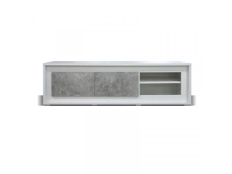 Meuble tv 2 portes 2 niches blanc/béton ciré à leds - rodio - l 170 x l 52 x h 49 cm