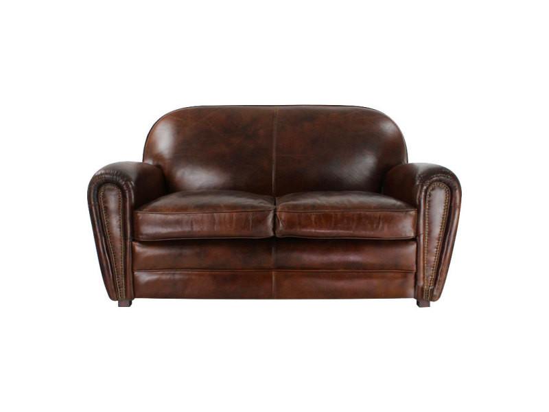 Canapé club cuir marron - bristol - couleur marron