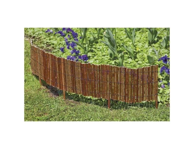 Mobilier de jardin et aménagement extérieur bordure en osier droit avec des piquets régulier pour un