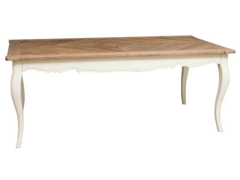 Table extensible en bois massif de mindi et chêne aux dimensions l200x pr100 xh 78 cm