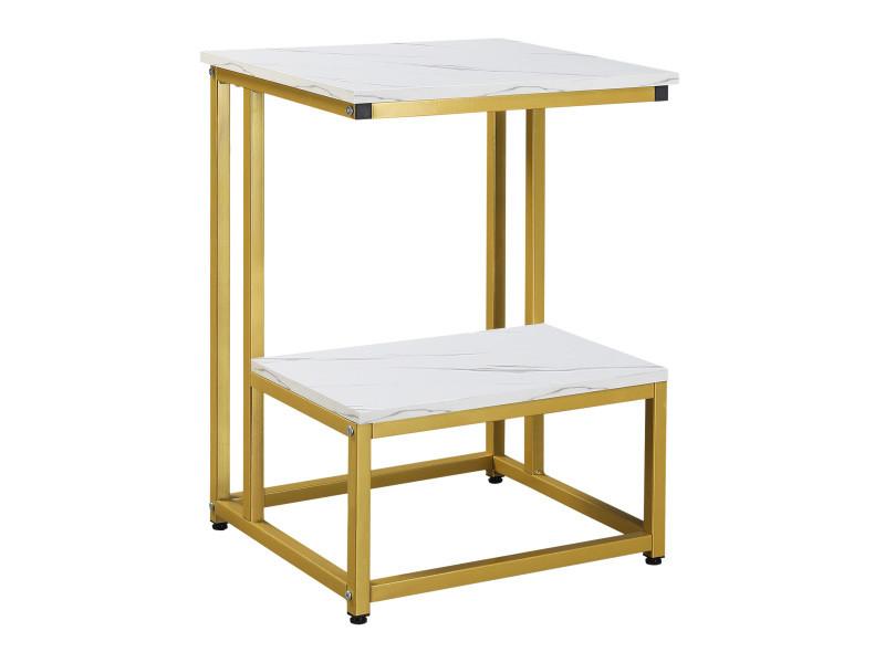 Table basse table d'appoint guéridon bout de canapé design structure acier doré plateau étagère aspect marbre blanc