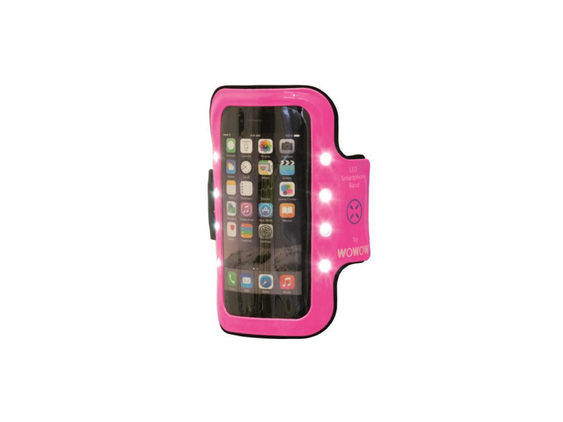 Wowow brassards réfléchissants avec poche smartphone armband 2.0 - rose
