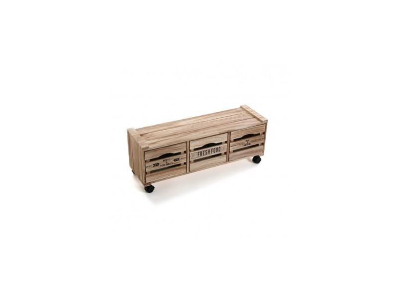 Meuble bas de cuisine roulettes en bois clair nature vente de versa conforama - Meuble cuisine a roulette ...