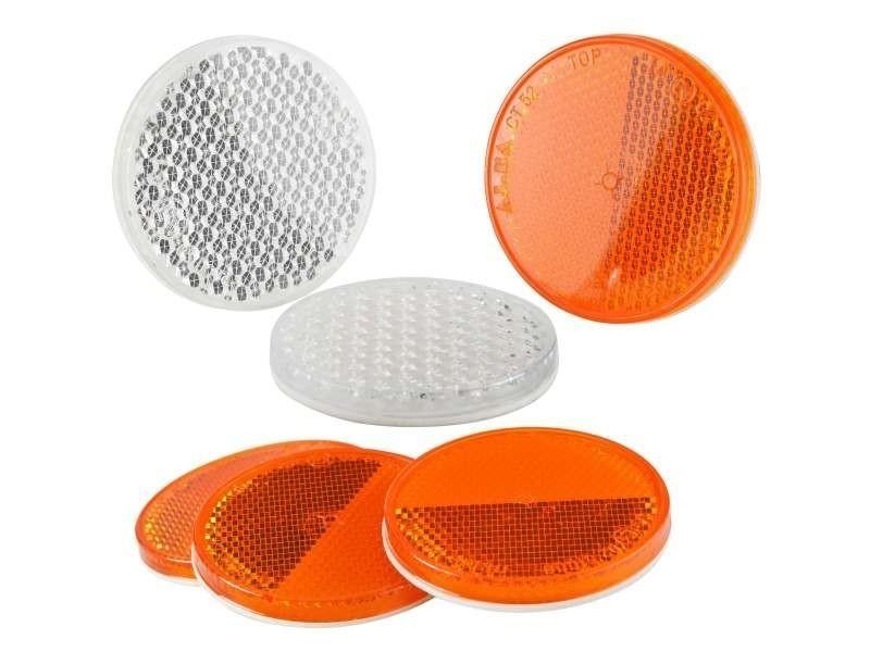 Signalisation éclairage catadioptres rond réfléchissant 4 de couleur orange et 2 de couleur blanche.
