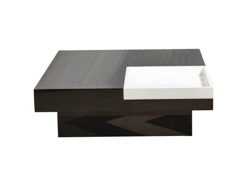 Table basse iriga table basse carrée style contemporain noir et blanc laqué - l 90 x l 90 cm
