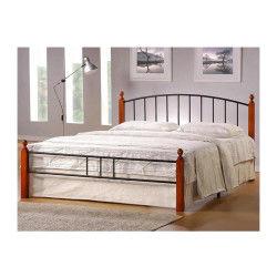 lit design en metal pieds de lit en bois malaisiens marron 160 x 200 cm pegane - Chambre Wenge Conforama