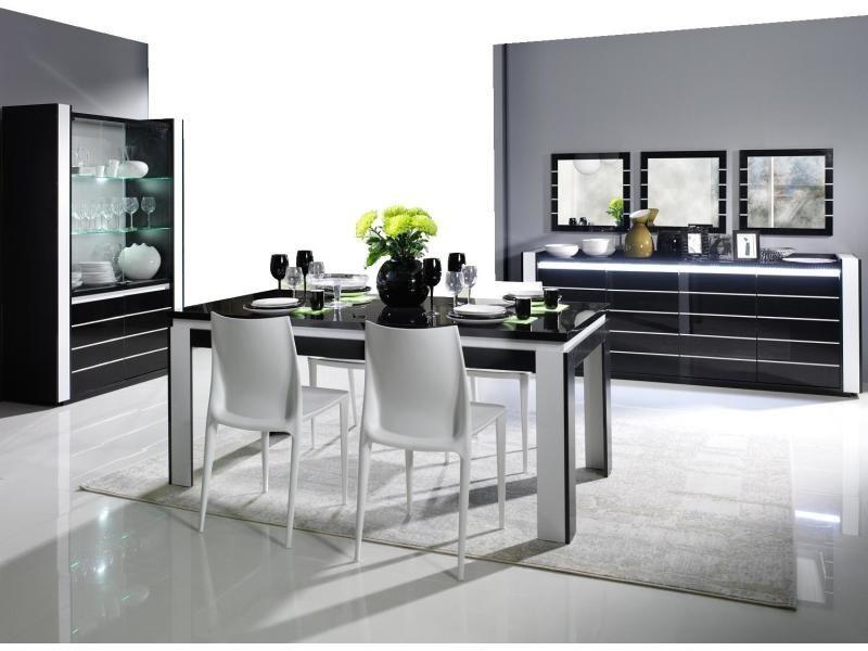 Salle manger lina noir et blanc brillant buffet - Conforama table et chaise salle a manger ...