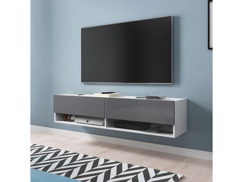 Meuble tv - WANDER - 140 cm - blanc mat / gris brillant
