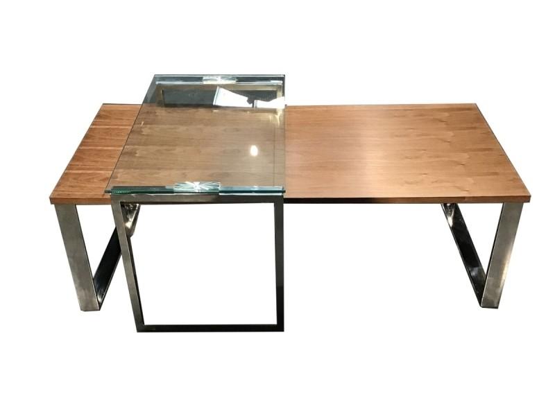 Table basse bois et verre kim - noyer/transparent - bois foncé