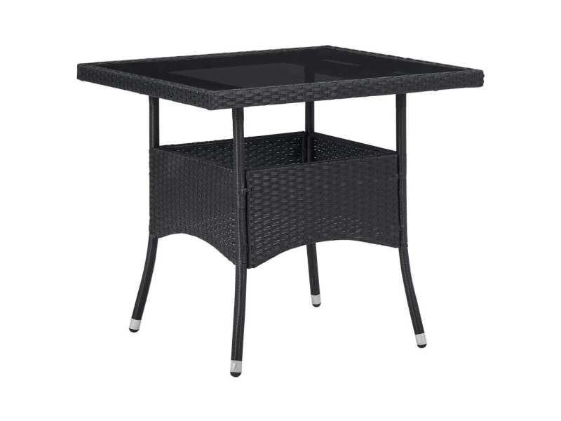 Magnifique mobilier de jardin gamme tirana table à manger d'extérieur noir résine tressée et verre