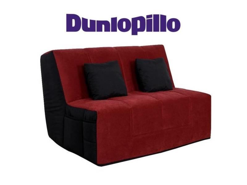 Canapé convertible bz venus 160cm microfibre rouge/noire système slyde matelas dunlopillo en latex 15cm 20100875567
