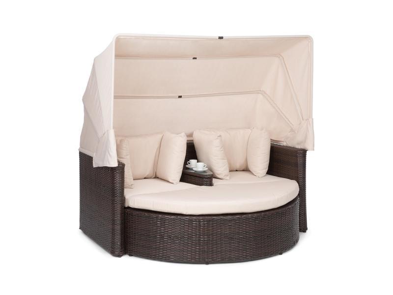 Blumfeldt heartland canapé lounge de jardin 2 places avec tabouret , table & parasol pliable , charge 160kg - polyrotin - ecru GDW8-Heartland-Grey