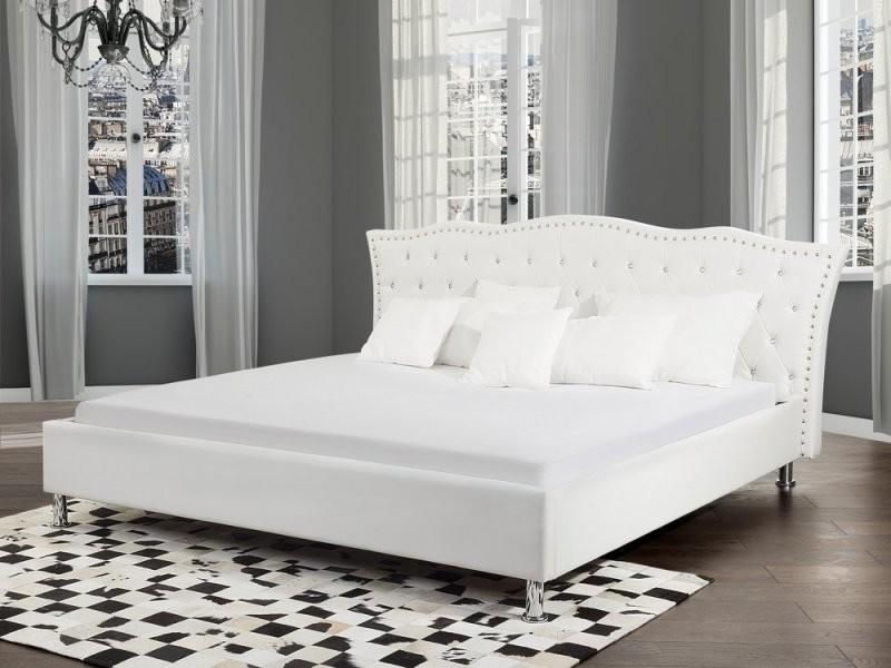 lit design en cuir lit double 160x200 cm blanc sommier inclus metz 25447 vente de. Black Bedroom Furniture Sets. Home Design Ideas
