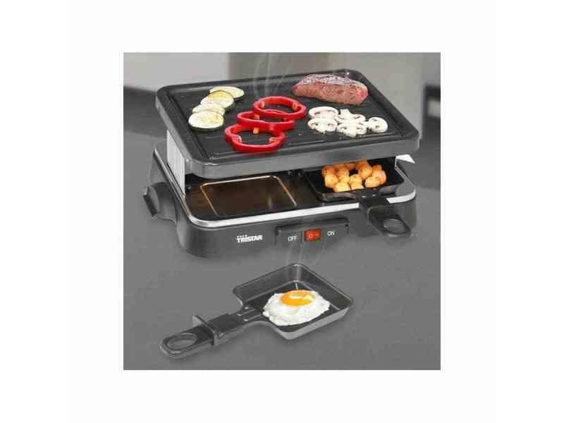 Chic électroménager de cuisine selection katmandou tristar grill à raclette pour 4 personnes 500 w 22x17,5 cm noir