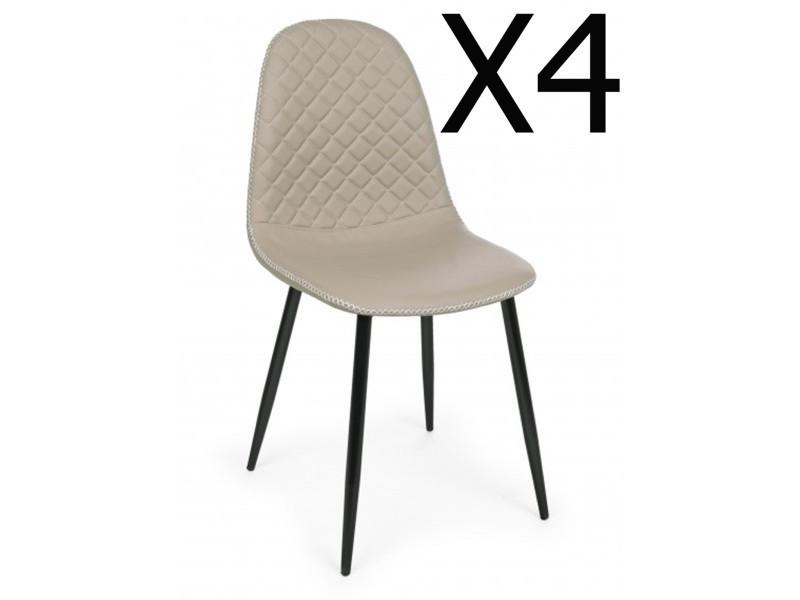 Lot de 4 chaises coloris taupe en pu - dim : l45 x p 54 x h 87 cm -pegane-