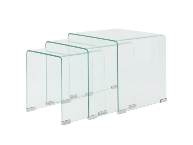 Vidaxl ensemble de tables gigognes 3 pièces verre trempé transparent 244190