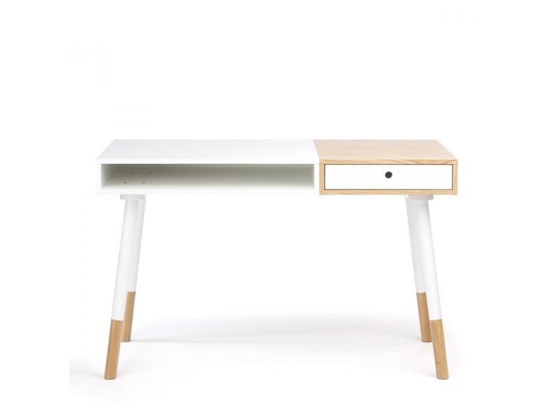 Bureau design bois et blanc sonnenblick couleur blanc
