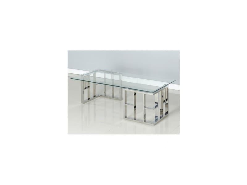 Table basse design verre et acier copa