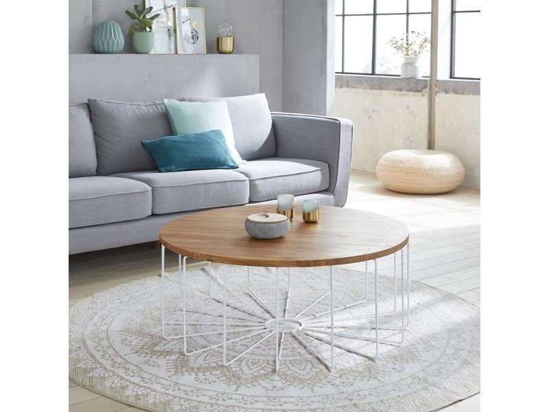 Table basse ronde en bois de teck et métal
