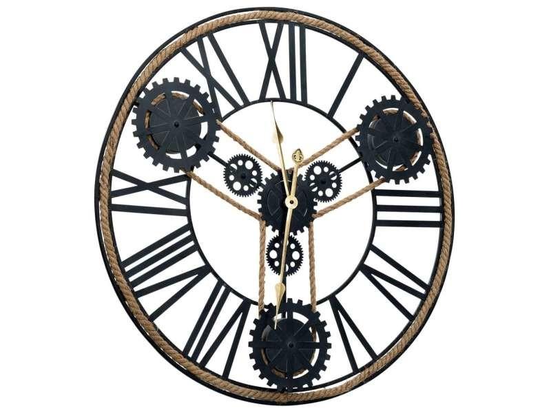 Vidaxl horloge murale noir 80 cm métal 321459