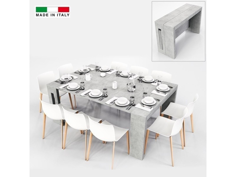 table console extensible grazia xl 3 allonges gris vente de madeinitaly conforama. Black Bedroom Furniture Sets. Home Design Ideas