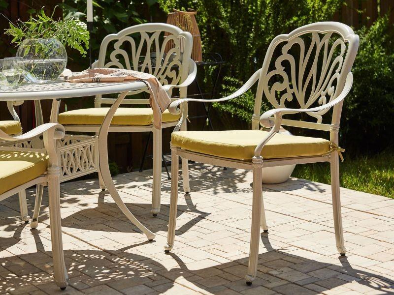 Lot de 4 chaises de jardin en aluminium blanc ancona 264243