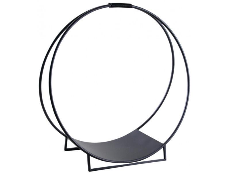 Porte-bûches rond en métal, coloris noir - dim : ø 70 x h 71 cm -pegane-