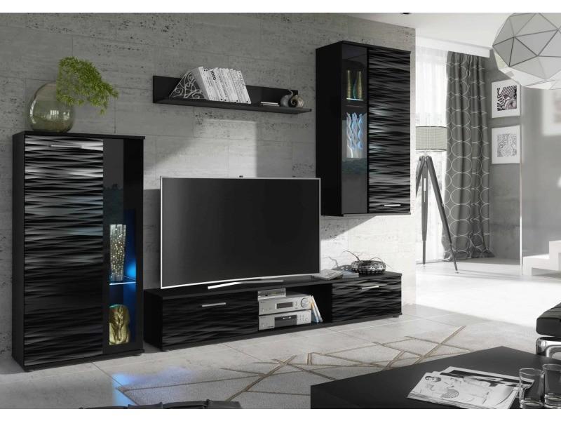 Mastercook meuble tv de salon design laquée brillant noir