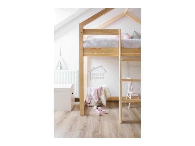 lit mezzanine g cabane bois massif sommier 80x190. Black Bedroom Furniture Sets. Home Design Ideas