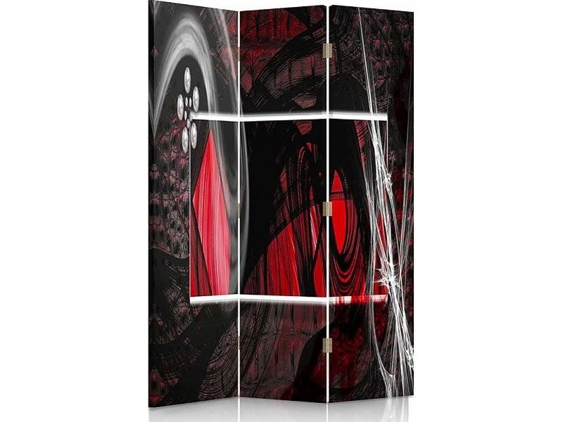 Paravent 3 Volets Lintérieur Abstraction Rouge 1 Coté Par