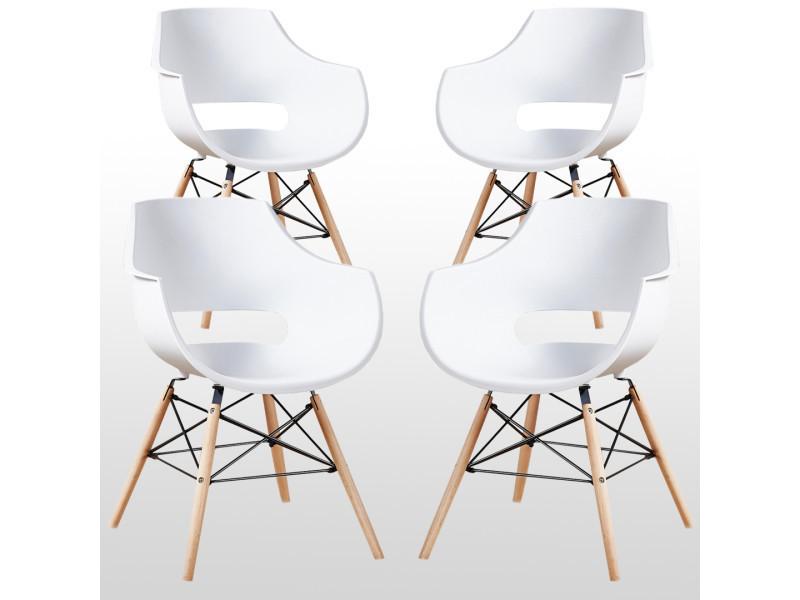 Lot de 4 chaises design olivia blanches - pieds eiffel en bois