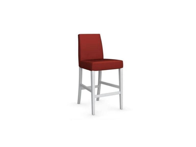 Chaise de bar latina piétement hêtre laqué blanc assise tissu rouge 20100839330