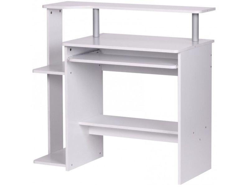 Bureau d ordinateur moderne multifonction cm coloris blanc