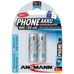 Pack de 2 pile rechargeable aa mignon ansmann 1300mah phone dect