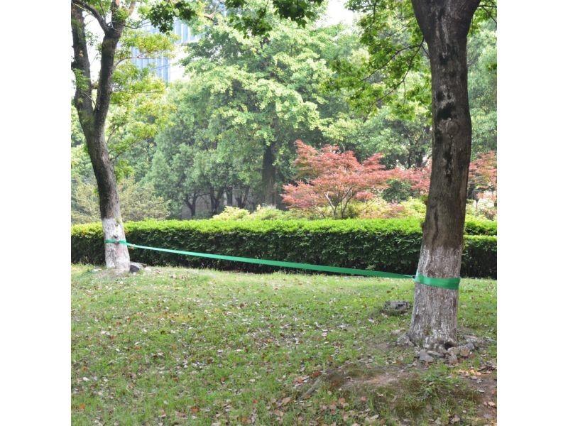 Icaverne - plateaux d'équilibre selection corde lâche pour slackline 15 m x 50 mm 150 kg vert