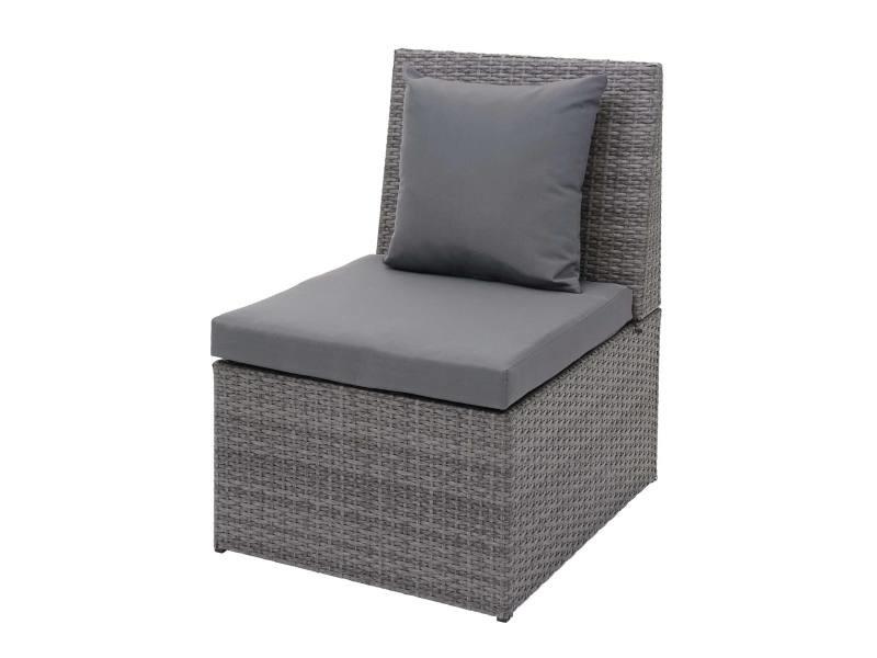 Fauteuil en polyrotin hwc-g16, chaise de jardin, gastronomie ~ gris, coussin gris foncé