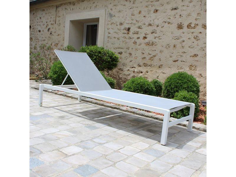 Belle Bain de soleil aluminium blanc textilène gris wilmington - Vente RW-94