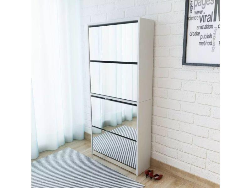 Contemporain rangements pour armoires à vêtements categorie asmara meuble à chaussures 4 étagères et miroir 63x17x134 cm blanc