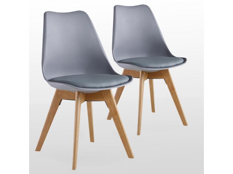 Lot de 2 chaises scandinaves grises lorenzo - assise rembourrée