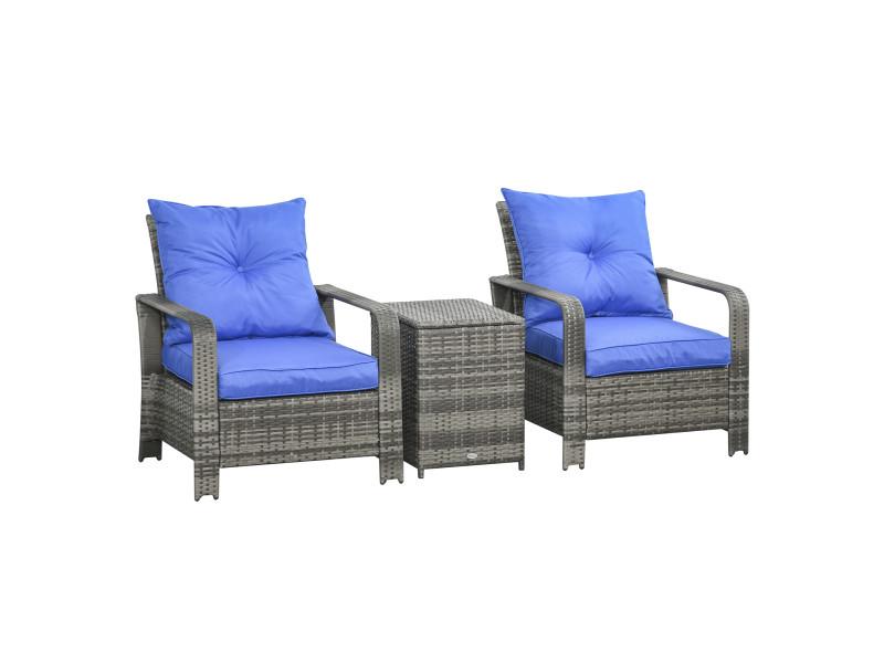 Ensemble de 2 fauteuils de jardin grand confort table basse coffre résine tressée imitation rotin gris coussins bleu électrique