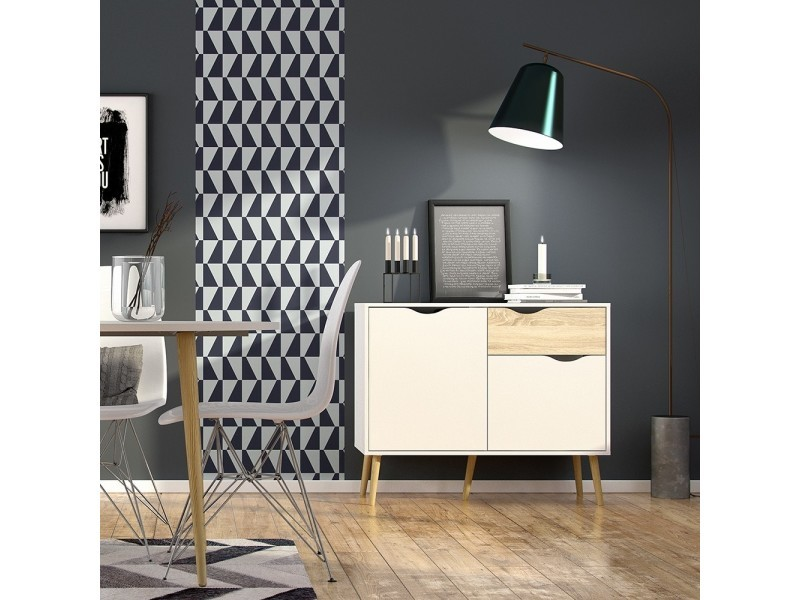 Buffet style scandinave soren - 2 portes + 1 tiroir - décor chêne & blanc