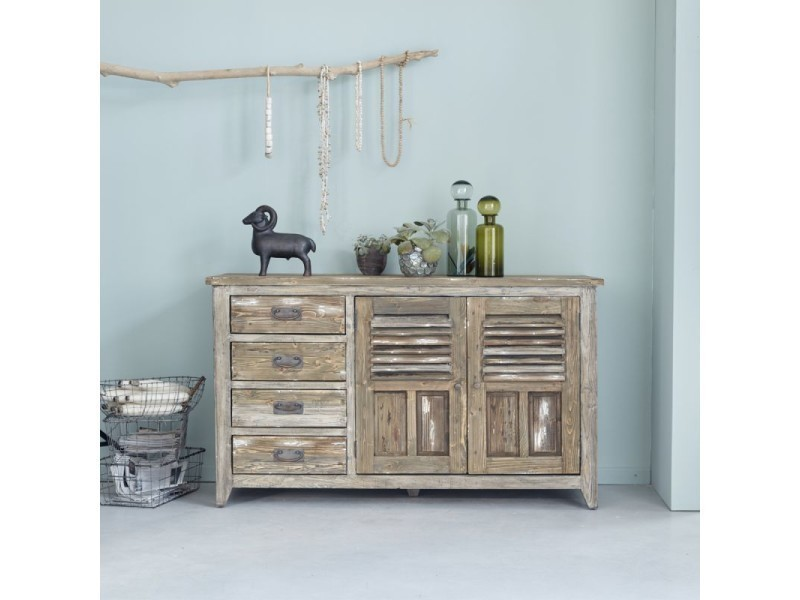 Affordable buffet en bois de pin recycl vintage vente de for Cuisine prairie conforama